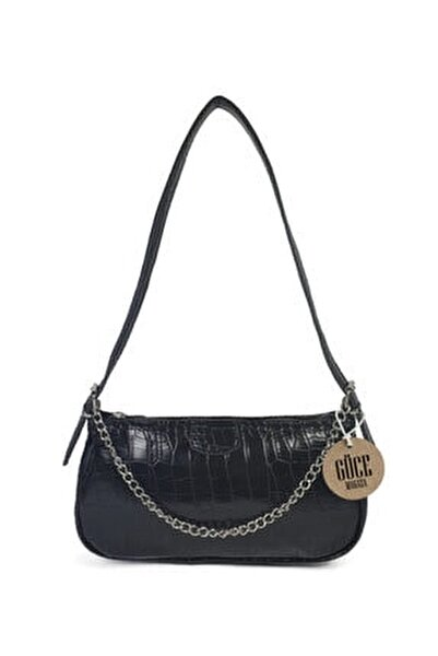Kadın Siyah Kroko Desenli İnce Zincirli Baget Çanta Gc011500k