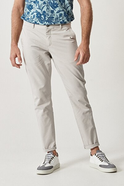 ALTINYILDIZ CLASSICS Erkek Taş Kanvas Slim Fit Chino Pantolon