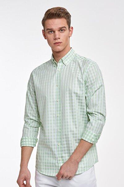 Hemington Erkek Yeşil Beyaz Kareli Spor Superfine Pamuk Gömlek