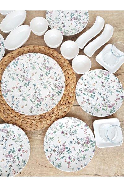 Keramika Flowers Mat Beyaz Kahvaltı Takımı 29 Parça 6 Kişilik
