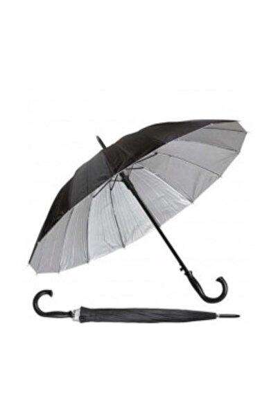 Mavi Şemsiye J-38 16 Telli Dışı Siyah Içi Gümüş Renk,baston Şemsiye