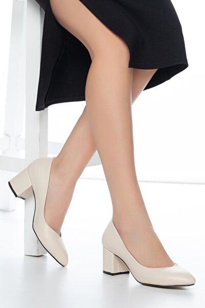 MUGGO Kadın Krem Klasik Topuklu Ayakkabı