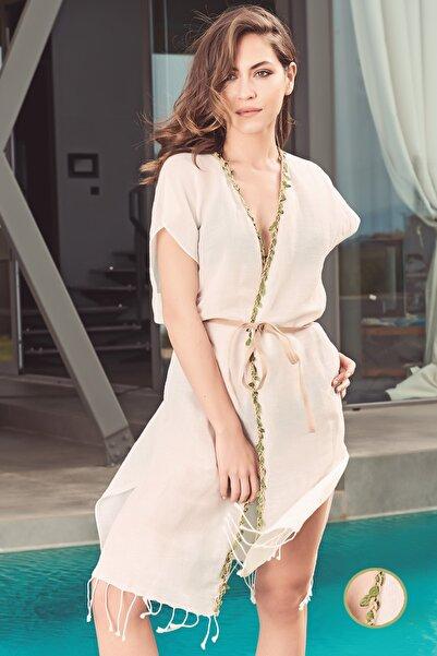Dosimira Kadın Naturel Yaprak Biyeli Keten Pamuk Kimono Plaj Elbisesi