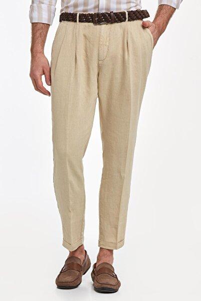 Hemington Erkek Kum Rengi Saf Keten Pileli Pantolon