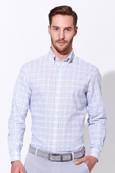 Hemington Mavi Beyaz Desenli Spor Gömlek