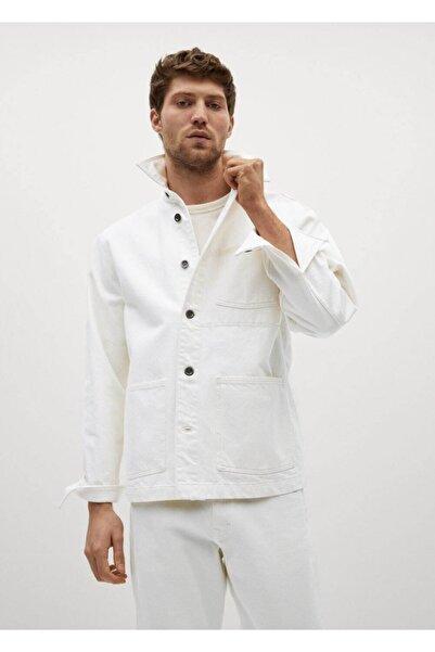 MANGO Man Erkek Beyaz Kot Gömlek Ceket