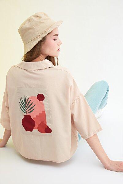 TRENDYOLMİLLA Vizon Basic Gömlek TWOSS21GO0046