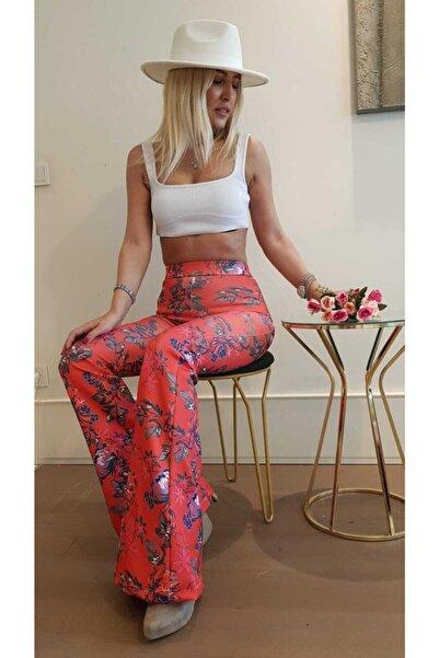 VENTİUP Toparlayıcı Çiçekli Ispanyol Paça Yüksek Bel Pantolon