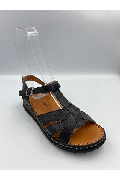 Zeyn Kadın Siyah Deri Sandalet