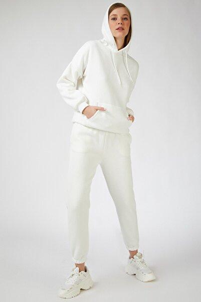 Happiness İst. Kadın Beyaz Kapüşonlu Polarlı Eşofman Takımı  DD00762
