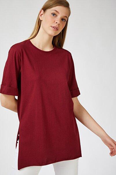 Happiness İst. Kadın Bordo Yandan Yırtmaçlı Oversize Penye T-Shirt Lİ00052