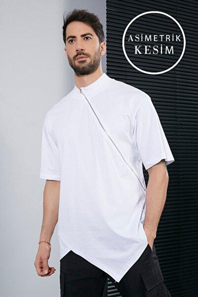 Sateen Men Erkek Beyaz Fermuarlı T-Shirt