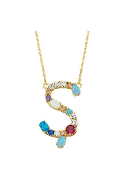 Luzdemia Kadın Karışık Renkli Opal Initial Ş Kolye -925 ayar