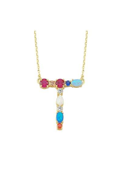 Luzdemia Kadın Çok Renkli Opal Initial T Harfi Kolye