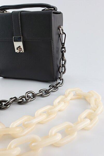 FAEN Krem Akrilik Siyah Zincir Detaylı Çanta Askısı