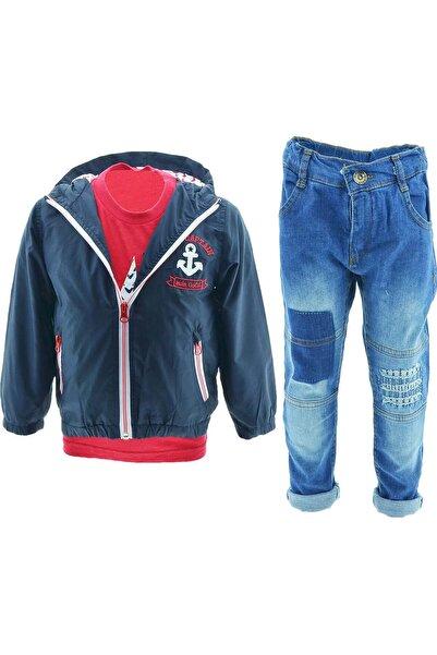 Midimod Erkek Çocuk Yağmurluk Tişört Kot Pantolon 3lü Takım 18424