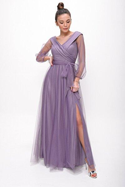 By Saygı Kadın Lila Bağcıklı Balon Kol Tül Uzun Abiye Elbise