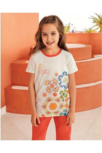 Güryıldız Kız Çocuk Krem Turuncu Pijama Takımı