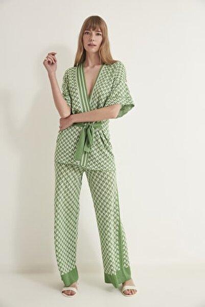Kazayağı Desenli Lastikli Triko Pantolon-yeşil