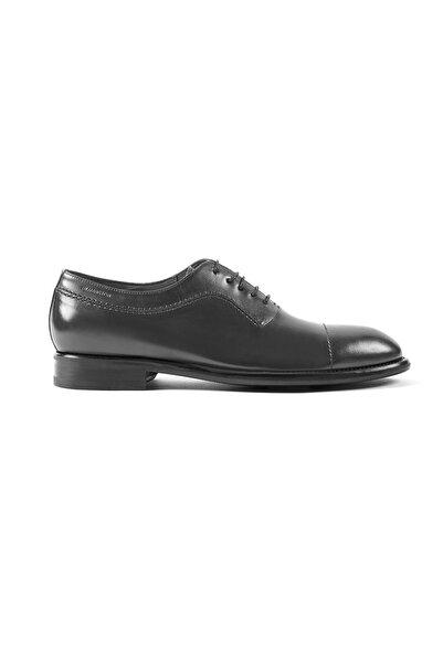 Hemington Erkek Gri El Yapımı Koyu Deri Ayakkabı