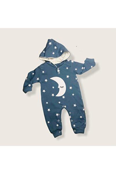 Murat Baby Erkek Bebek Ay Yıldız Desenli Kapüşonlu Tulum