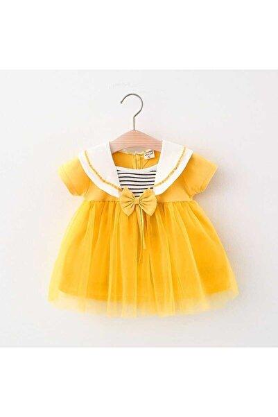 Little Honey Bunnies Çizgi Detaylı Sarı Tül Elbise