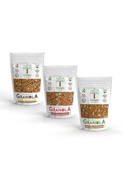 Cinagro Goodies Granola - Çilek Knoa Chia, Muz Çikolata, Elma Ceviz Tarçın 3'lü Set