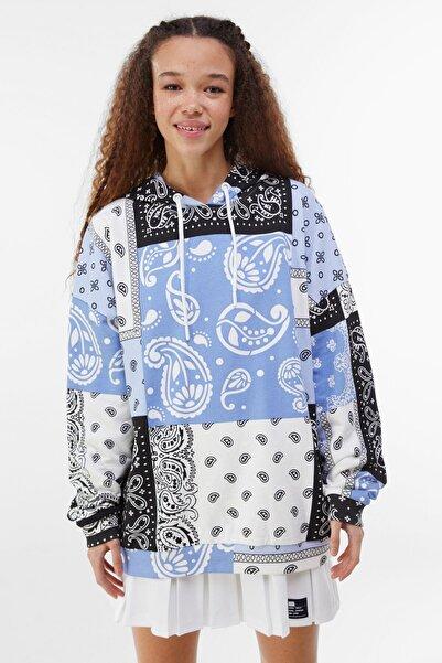 Bershka Kadın Mavi Kapüşonlu Sweatshirt