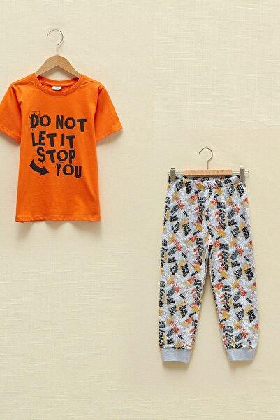 LC Waikiki Erkek Çocuk Gri Baskılı Lrw Pijama Takımı