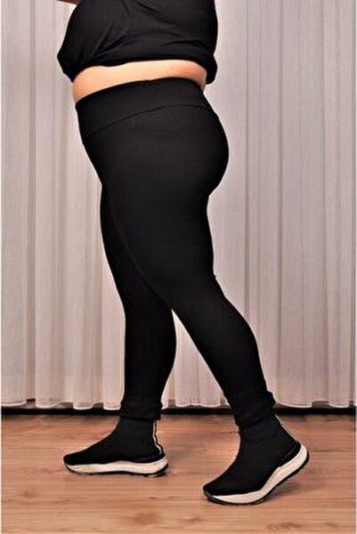 Kadın Siyah Yüksek Bel Geniş Kemer 2xl-6xl (44-52 Beden )büyük Beden Örme Tayt