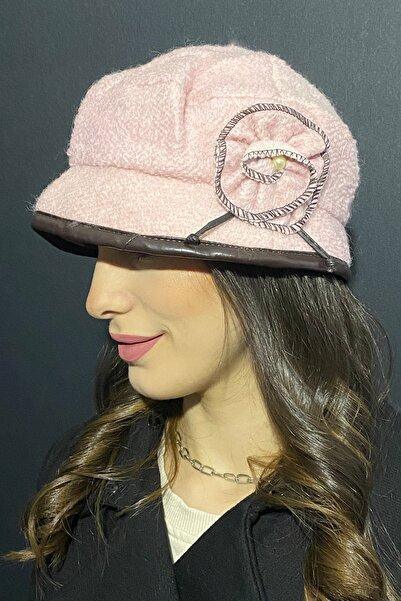Bay Şapkacı Kadın Deri Kenarlı Bermuda Şapka 7752 Gül Kurusu