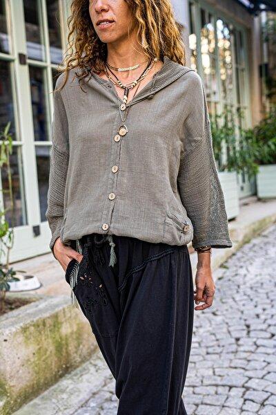 Güneşkızı Kadın Haki Yıkamalı Keten Fileli Bağlamalı Kapüşonlu Bluz GK-RSD2021