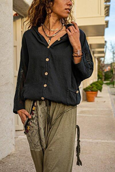 Güneşk��zı Kadın Siyah Yıkamalı Keten Fileli Bağlamalı Kapüşonlu Bluz GK-RSD2021