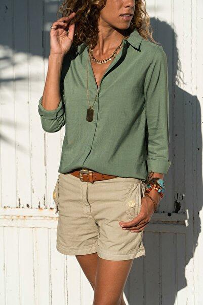 Güneşkızı Kadın Haki Keten Dokulu Gömlek GK-BSTGM100