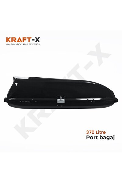 Kraftx 370 Litre Araç Üstü Port Bagaj Parlak Siyah