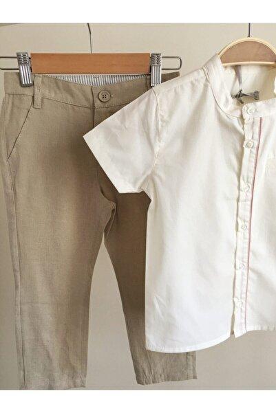 Monna Rosa Erkek Için ''krem Gömlek, Bej Keten Pantolon'' Takımı