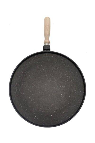 Mondi Döküm Granit 36 Cm Sığ Gözleme Bazlama Krep Hamur Pizza Et Balık Pişirme Tavası (siyah)