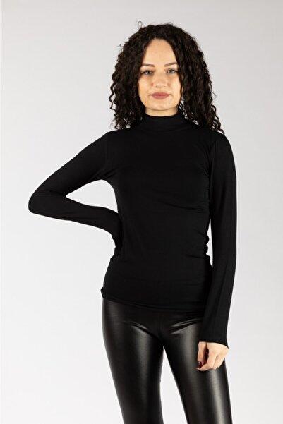 NACAR STORE Kadın Siyah  Uzun Kollu Likralı Penye  Body