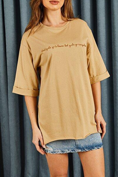 Hadise Ince Yazı Baskılı Tshirt Bej