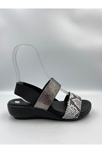 Zeyn 328 Kadın Deri Sandalet Siyah
