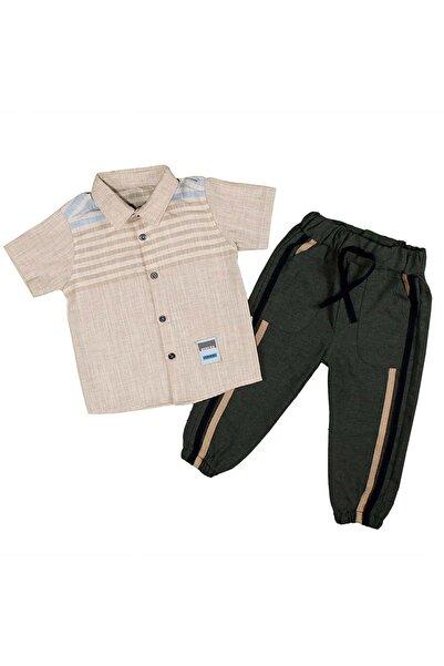 Babyboy Erkek Çocuk Takım Kısakol Gömlek Şeritli Pantolon 1-4 Yaş