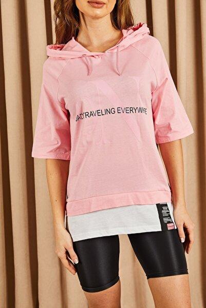 Hadise Kadın Pembe Kapşonlu Yazılı Tshirt