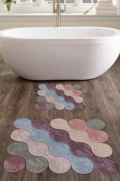 colizon 60x90 - 50x60 Rainbow Drop Dijital Banyo Halısı Lazer Kesim 2'li Klozet Takımı