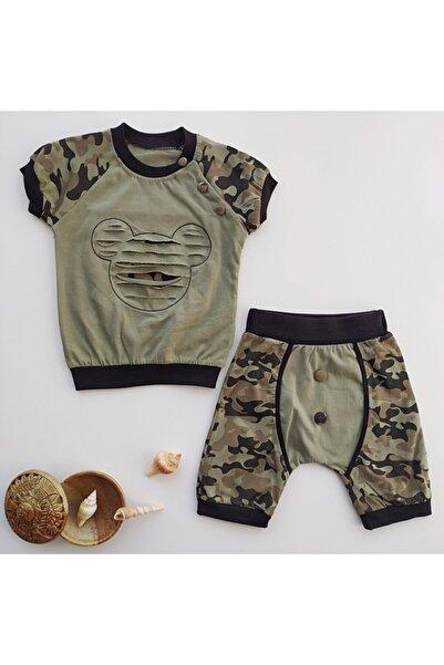 Mc. Elci Baby Erkek Bebek Haki Mikili Askeri Kamuflaj Yazlık Takım