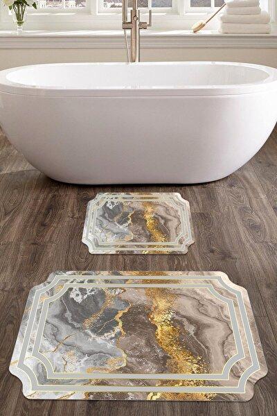colizon 60x90 - 50x60 Julia Dijital Banyo Halısı Lazer Kesim Klozet Takımı 2'li Paspas Seti