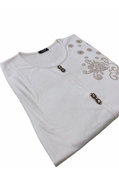 Elele Küçük Taşlı Enine Baskı Desenli Krem Anne Penye Bluz