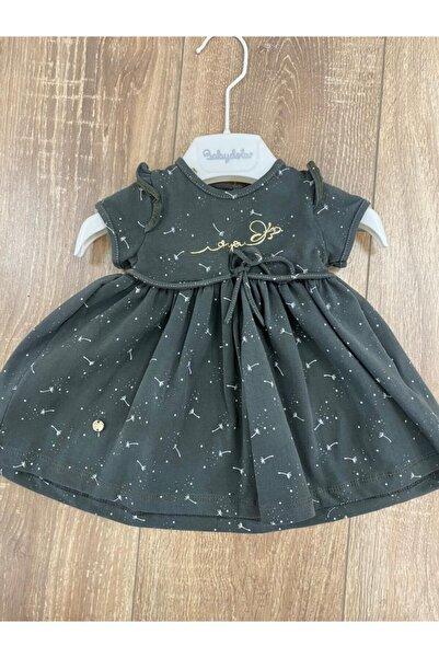 Babydola Kız Bebek Haki Robadan Büzgülü Penye Elbise