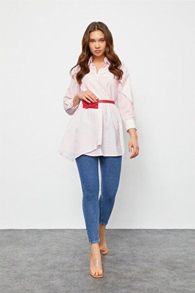 Setre Kadın Pembe Kemerli Gömlek Tunik