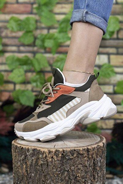 Riccon Kadın Bej Sneaker 0012189