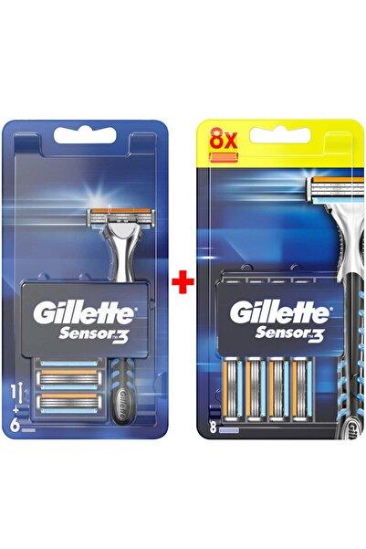 Gillette Sensor3 Tıraş Makinesi + Yedek Tıraş Bıçağı 14'lü